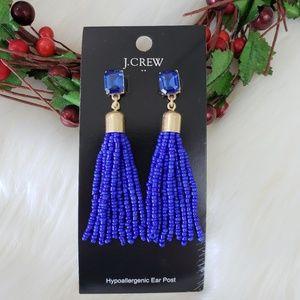 J. Crew Cobalt Blue Seed Bead Dangle Earrings